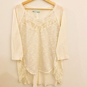 Maurice's XL ivory high low lace top